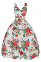 "Ladies Retro Vintage ""Valerie"" 1950's V Neck Party Dress"