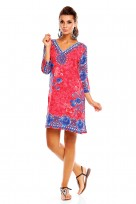 Boho Festival Tribal Tunic Top Dress In Pink