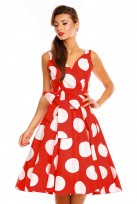 Ladies Retro Vintage Polka Red 1950's Cross Over  Party  Dress