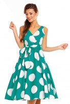 Ladies Retro Vintage Polka Green 1950's Cross Over  Party  Dress