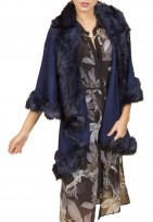 Faux Fur Cape Double Layered Gilet Body Warmer in Navy