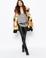 Ladies Black Parka Coat With Faux Fur Trim