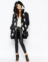 Ladies Black White Parka Coat With Faux Fur Hood And Trim
