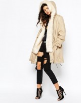 Womens Cream Parka Coat With Faux Fur Hood And Trim