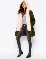 Women's Parka Coat With Faux Fur Trim In Khaki