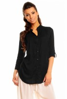 Ladies Black Mina 3/4 Sleeve Tunic Top Shirt
