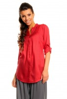 Ladies Red Mina 3/4 Sleeve Tunic Top Shirt