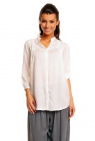 Ladies White Mina 3/4 Sleeve Tunic Top Shirt