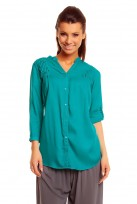 Ladies Teal Mina 3/4 Sleeve Tunic Top Shirt