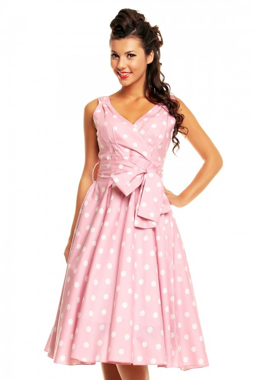fcdd3ccb638fe Ladies Marilyn 1950's Rockabilly Plus Size Polka Dot Retro Swing Dress In  Pink